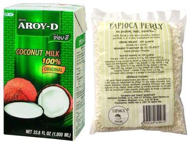 Aroy-D Kokosové mléko 250 ml + Tapioca Puding tapiokové perly 100 g