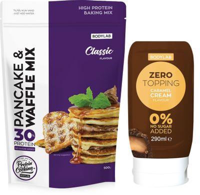 Bodylab High Protein Pancake&Wafle Mix 500 g + Zero Topping Syrup 290 ml