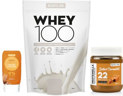 Bodylab Whey Protein 100 +  Proteinella + Zero Topping Syrup salted caramel