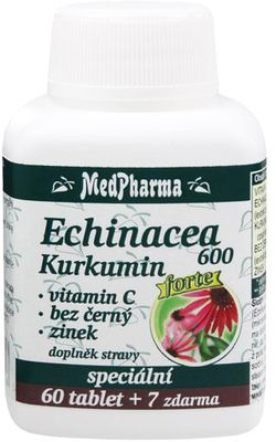 MedPharma Echinacea 600 Forte + kurkumin + vitamin C + bez černý + zinek
