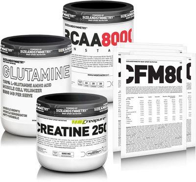 SizeAndSymmetry Nutrition BCAA 8000 Instant powder + L-Glutamine + Creatine + 5x vzorek Whey 80 CFM