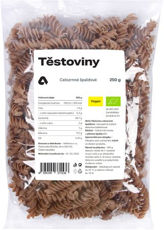 Aktin Těstoviny celozrnné špaldové BIO