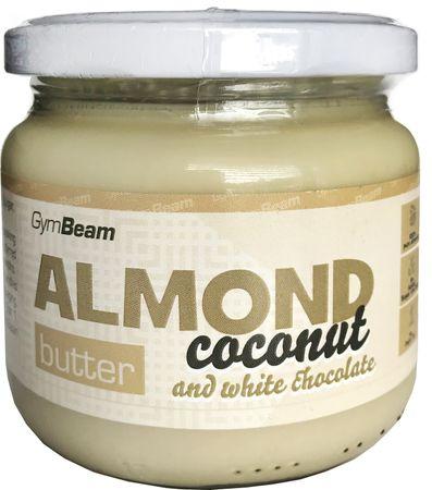 GymBeam Mandlové máslo s kokosem a bílou čokoládou