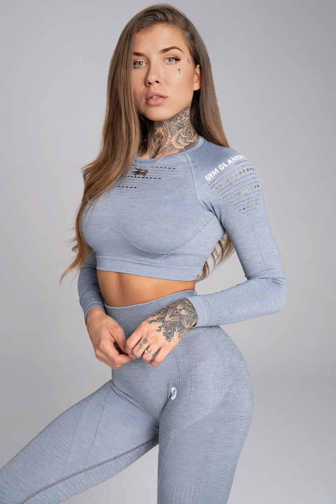 Gym Glamour Crop-Top XS steel melange