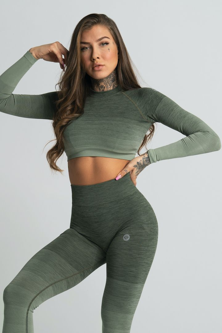 Gym Glamour Crop-Top XS khaki ombre