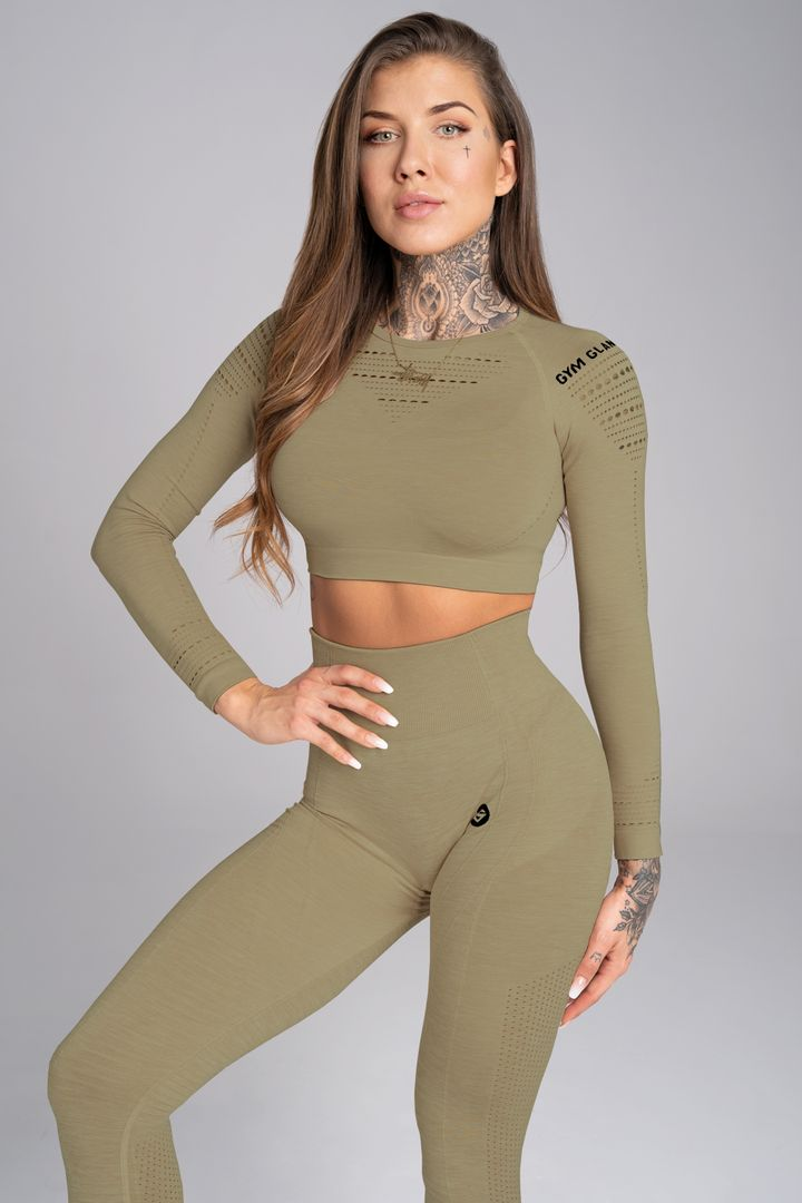 Gym Glamour Crop-Top XS khaki