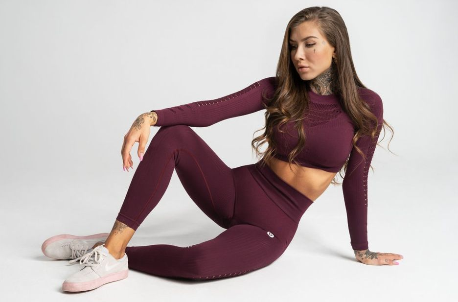 Gym Glamour legíny Seamless M dark berry