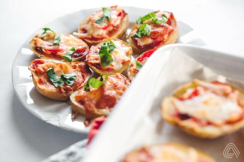 Fitness jednohubky: Bramborové pizza jednohubky zmizí během chvíle ze stolu