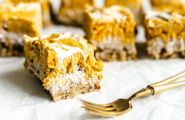 Podzim na plechu: Dýňové cheesecake řezy
